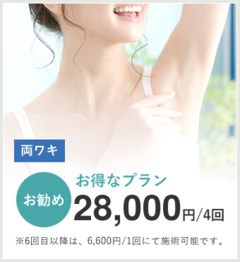 両ワキ4回のお得なお勧めプラン…28,000円(4回)